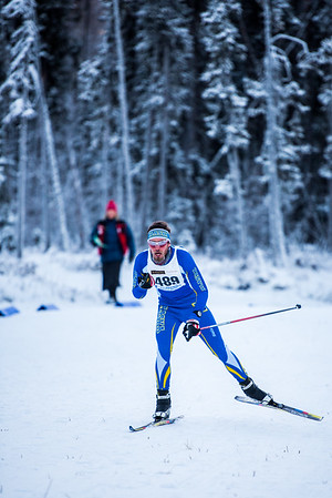 Alexander Eckert prepares to tuck down a hill during the men's 8.5km race during day one of the Nordic Cup at Birch Hill on Nov. 19, 2016.  Filename: ATH-16-5069-60.jpg