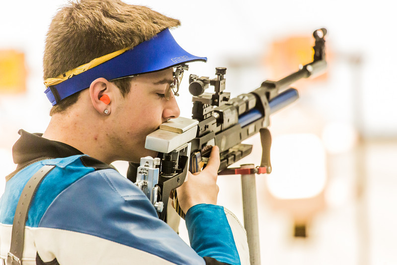 """Sophomore Tim Sherry concentrates between shots while competing in the small bore event during the Nanooks' meet against the Citidel Jan. 20 in the E.F. Horton Rifle Range on the Fairbanks campus.  <div class=""""ss-paypal-button"""">Filename: ATH-14-4042-32.jpg</div><div class=""""ss-paypal-button-end"""" style=""""""""></div>"""