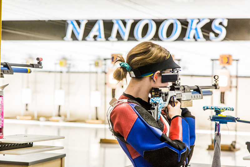 """Sophomore Jamie Barnes competes in the air rifle event during the Nanooks' meet against the Citidel Jan. 20 in the E.F. Horton Rifle Range on the Fairbanks campus.  <div class=""""ss-paypal-button"""">Filename: ATH-14-4042-72.jpg</div><div class=""""ss-paypal-button-end"""" style=""""""""></div>"""
