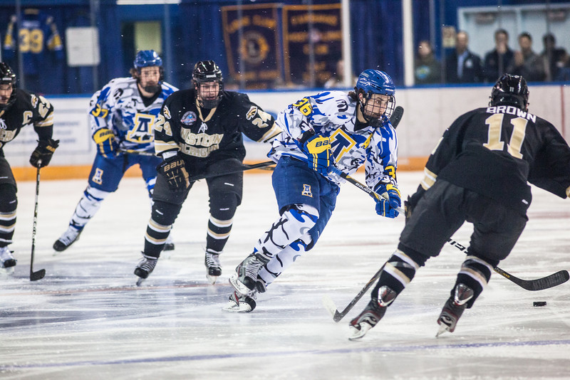 """UAF Mens Hockey Team sports on blue camouflage jerseys as part of a 10-day military appreciation event hosted by the Alaska Nanooks at a game against Western Michigan Nov. 16, 2012 at the Carlson Center.  <div class=""""ss-paypal-button"""">Filename: ATH-12-3656-43.jpg</div><div class=""""ss-paypal-button-end"""" style=""""""""></div>"""