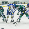 """Seniors Cody Kunyk, 37, and Colton Beck, 36, battle for the puck as they try to preserve a one-goal lead late in the final period of their game against Mercyhurst in the Patty Ice Arena.  <div class=""""ss-paypal-button"""">Filename: ATH-13-3982-205.jpg</div><div class=""""ss-paypal-button-end"""" style=""""""""></div>"""