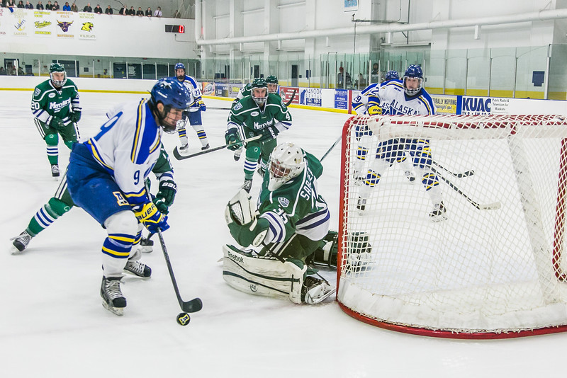 """Freshman Marcus Basara tries to get off a shot early in the Nanooks' game against Mercyhurst in the Patty Ice Arena.  <div class=""""ss-paypal-button"""">Filename: ATH-13-3982-20.jpg</div><div class=""""ss-paypal-button-end"""" style=""""""""></div>"""