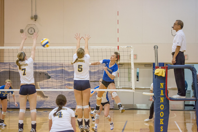 "Senior Reilly Stevens skies for a kill during the Nanooks' match against Montana State-Billings in the Patty Center.  <div class=""ss-paypal-button"">Filename: ATH-12-3638-119.jpg</div><div class=""ss-paypal-button-end"" style=""""></div>"