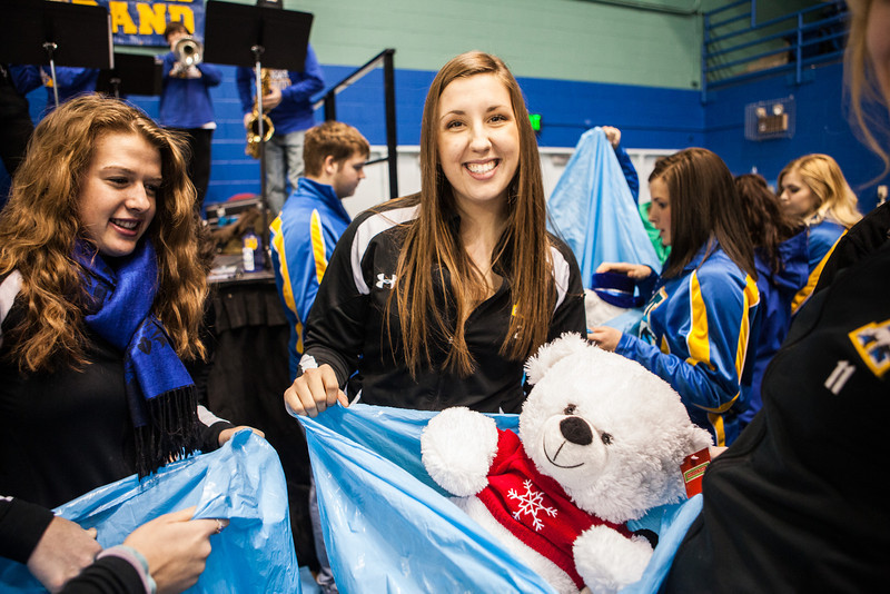 "The Student-Athlete Advisory Committee (SAAC) sponsored the 2nd Annual Teddy Bear Toss during the hockey game against Bowling Green State University Saturday, Dec. 8, 2012 at the Carlson Center. The bears were sent to Santa's Clearing House in Fairbanks to be given to families during holiday season.  <div class=""ss-paypal-button"">Filename: ATH-12-3676-78.jpg</div><div class=""ss-paypal-button-end"" style=""""></div>"