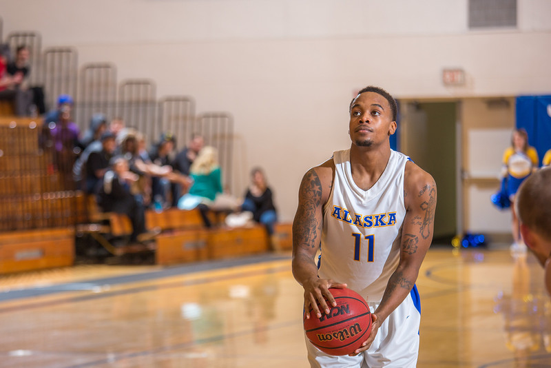 "Junior guard Ronnie Baker gets ready to shoot a free throw during the second half of the Nanooks' 81-58 win over Saint Martin's Jan. 10 in the Patty Center.  <div class=""ss-paypal-button"">Filename: ATH-13-3695-17.jpg</div><div class=""ss-paypal-button-end"" style=""""></div>"