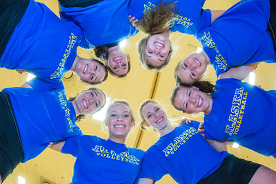Members of the Nanook volleyball team display comraderie.  Filename: ATH-13-3908-226.jpg