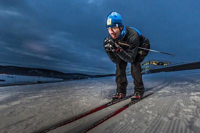 Freshman skier Nick Lovett gets in some practice time on the UAF ski trails.  Filename: ATH-13-4013-45.jpg