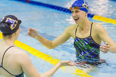 Nanook swimmers take part in a friendly but fierce competition during the 2012 Blue and Gold Swim Meet Saturday, Oct. 13 at the Patty Center.  Filename: ATH-12-3588-9.jpg