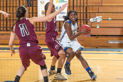 Junior point guard Benissa Bulaya is cut off along the baseline during the Nanooks' first GNAC game of the season against Seattle Pacific.  Filename: ATH-13-4015-43.jpg