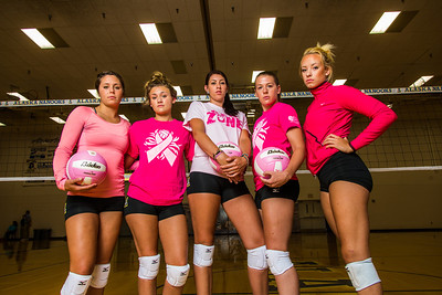 Members of the Nanook volleyball team don pink to promote breast cancer awareness.  Filename: ATH-13-3908-164.jpg