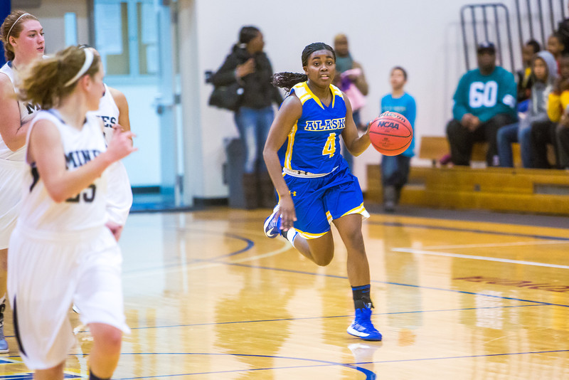 """Sophomore Benissa Bulaya pushes the ball up the court during first half action in the Nanooks' game against the Colorado School of Mines in the Patty Center.  <div class=""""ss-paypal-button"""">Filename: ATH-12-3639-37.jpg</div><div class=""""ss-paypal-button-end"""" style=""""""""></div>"""