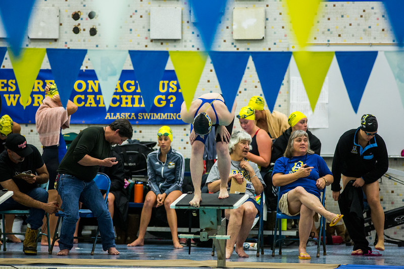 """A UAF swimmer stands on the blocks before the 50-yard freestyle during the Nanooks' meet against Concordia-Irvine on Friday, Nov. 11, 2016 in the Patty Pool.  <div class=""""ss-paypal-button"""">Filename: ATH-16-5059-4.jpg</div><div class=""""ss-paypal-button-end""""></div>"""
