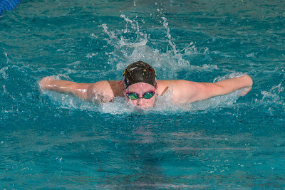 Junior Nina Mullin competes in one of the preliminary 50 meter butterfly events during the Nanooks' dual meet against Loyola Marymount Jan. 30 in the Patty Pool.  Filename: ATH-15-4442-14.jpg