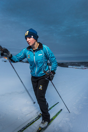 Freshman skier Hannah Stevens gets in some practice time on the UAF ski trails.  Filename: ATH-13-4013-11.jpg