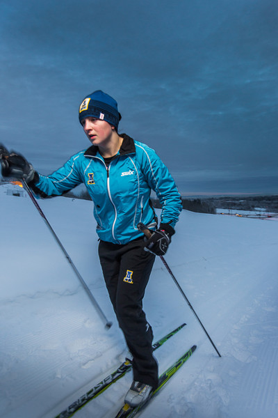 """Freshman skier Hannah Stevens gets in some practice time on the UAF ski trails.  <div class=""""ss-paypal-button"""">Filename: ATH-13-4013-11.jpg</div><div class=""""ss-paypal-button-end"""" style=""""""""></div>"""