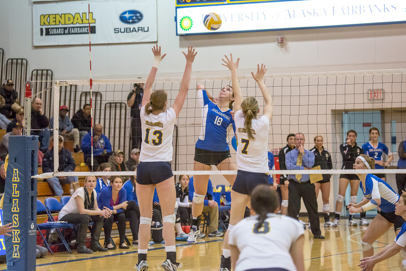 "Freshman Megan Morrison skies for a kill during the Nanooks' match against Montana State-Billings in the Patty Center.  <div class=""ss-paypal-button"">Filename: ATH-12-3638-116.jpg</div><div class=""ss-paypal-button-end"" style=""""></div>"