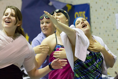 Nanook swimmers take part in a friendly but fierce competition during the 2012 Blue and Gold Swim Meet Saturday, Oct. 13 at the Patty Center.  Filename: ATH-12-3588-13.jpg