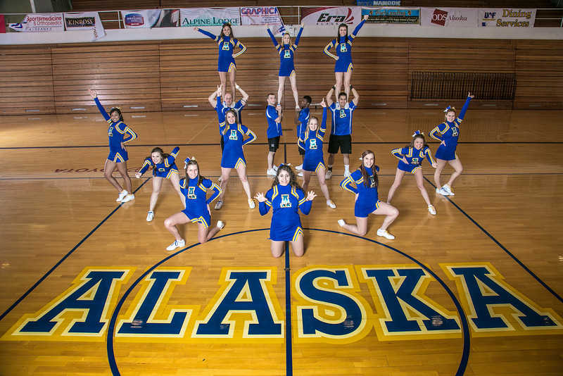 """The UAF cheerleading squad performs a variety of poses and routines during a practice session in the Patty Gym.  <div class=""""ss-paypal-button"""">Filename: ATH-13-3751-20.jpg</div><div class=""""ss-paypal-button-end"""" style=""""""""></div>"""