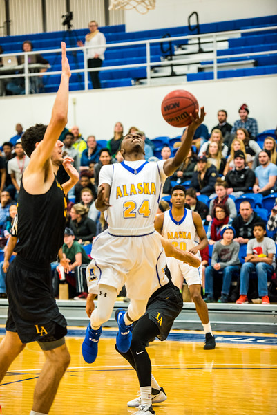 """Daniel Hornbuckle shoots during the Nanooks' game against Cal State LA on Nov. 21 in the Patty Gym.  <div class=""""ss-paypal-button"""">Filename: ATH-16-5072-51.jpg</div><div class=""""ss-paypal-button-end""""></div>"""