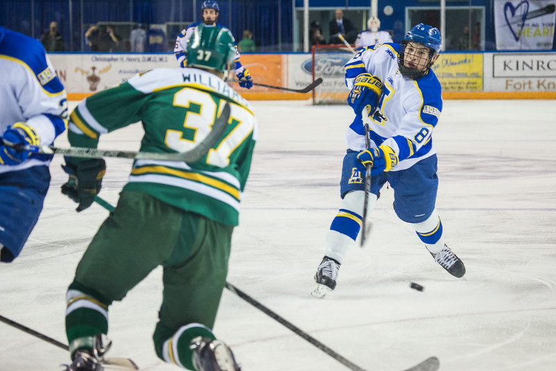 """Alaska Nanooks Mens Hockey Team and the SeaWolves face off at the Carlson Center.  <div class=""""ss-paypal-button"""">Filename: ATH-14-4118-8.jpg</div><div class=""""ss-paypal-button-end""""></div>"""