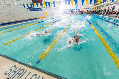 Swimmers approach the final turn in the 200-yard freestyle relay during the Nanooks' meet against Loyola Marymount in the Patty Pool.  Filename: ATH-13-3991-227.jpg