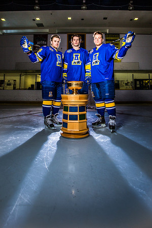 Colton Beck, left, Michael Quinn, center, and Cody Kunyk return as seniors to lead the Nanooks in 2013 as the team makes its initial foray into the tough WCHA (Western Collegiate Hockey Association).  Filename: ATH-13-3818-6.jpg