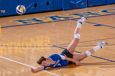 Freshman Kylie Dickerson hits the deck going for a dig during the Nanooks' match against Montana State-Billings in the Patty Center.  Filename: ATH-12-3638-148.jpg