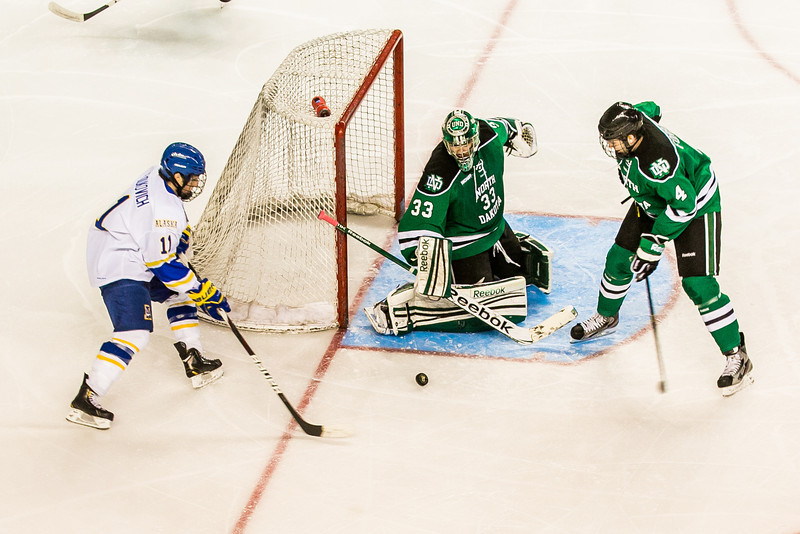 "Freshman Alex Hajdukovich gets a good chance to score during the Nanooks' 2-1 win over North Dakota in the Carlson Center.  <div class=""ss-paypal-button"">Filename: ATH-12-3601-103.jpg</div><div class=""ss-paypal-button-end"" style=""""></div>"