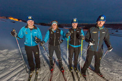 From left to right, UAF freshmen Hannah Stevens, Mia Anderson, Maddy Pfeifer and Nick Lovett get in some practice time on the UAF ski trails.  Filename: ATH-13-4013-76.jpg