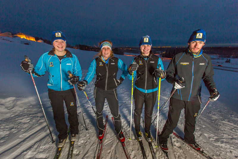"From left to right, UAF freshmen Hannah Stevens, Mia Anderson, Maddy Pfeifer and Nick Lovett get in some practice time on the UAF ski trails.  <div class=""ss-paypal-button"">Filename: ATH-13-4013-76.jpg</div><div class=""ss-paypal-button-end"" style=""""></div>"