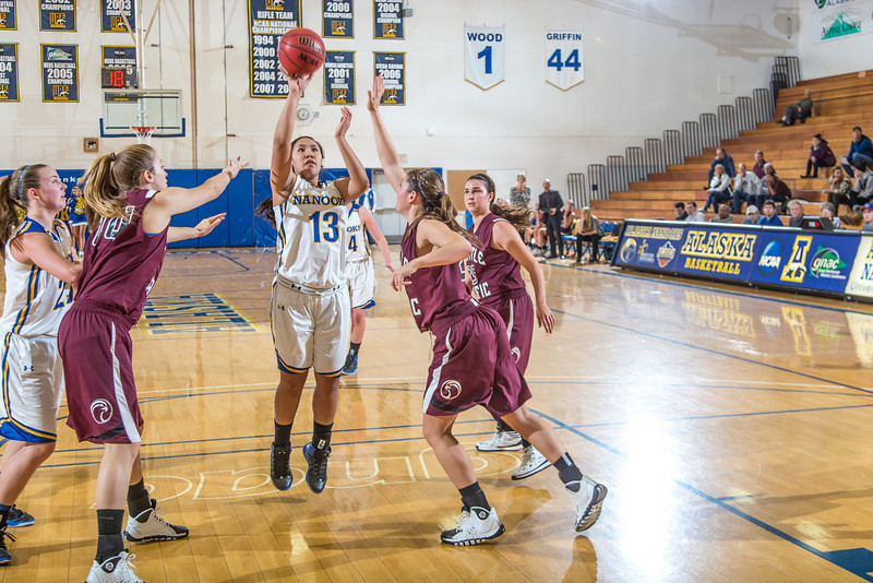 "Sophomore guard Brianna Kirk gets open for a short jumper during the Nanooks' first GNAC game of the season against Seattle Pacific.  <div class=""ss-paypal-button"">Filename: ATH-13-4015-69.jpg</div><div class=""ss-paypal-button-end"" style=""""></div>"