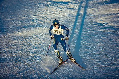 A UAF skiier enters the stadium during day one of the Nordic Cup at Birch Hill on Nov. 19, 2016.  Filename: ATH-16-5069-65.jpg