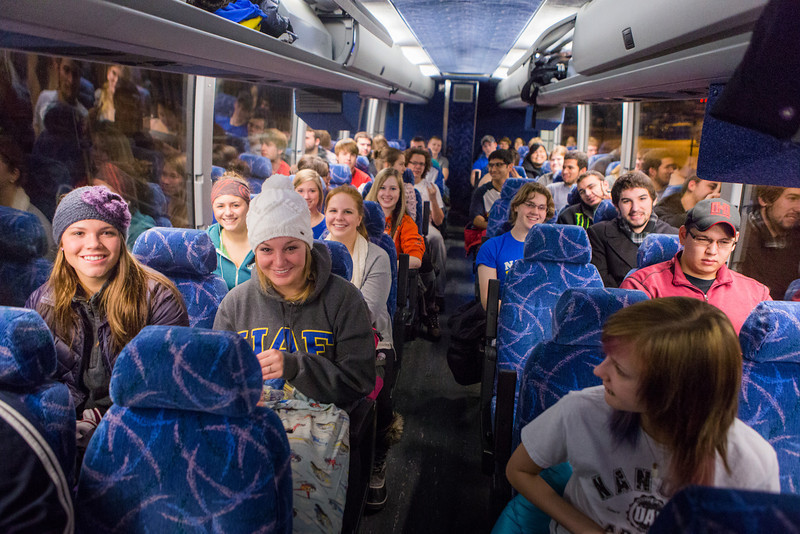 """All aboard! The UAF contingent made up of students takes one photo before leaving Fairbanks for the Alaska Airlines Governor's Cup hockey game in Anchorage.  <div class=""""ss-paypal-button"""">Filename: ATH-13-4017-10.jpg</div><div class=""""ss-paypal-button-end"""" style=""""""""></div>"""