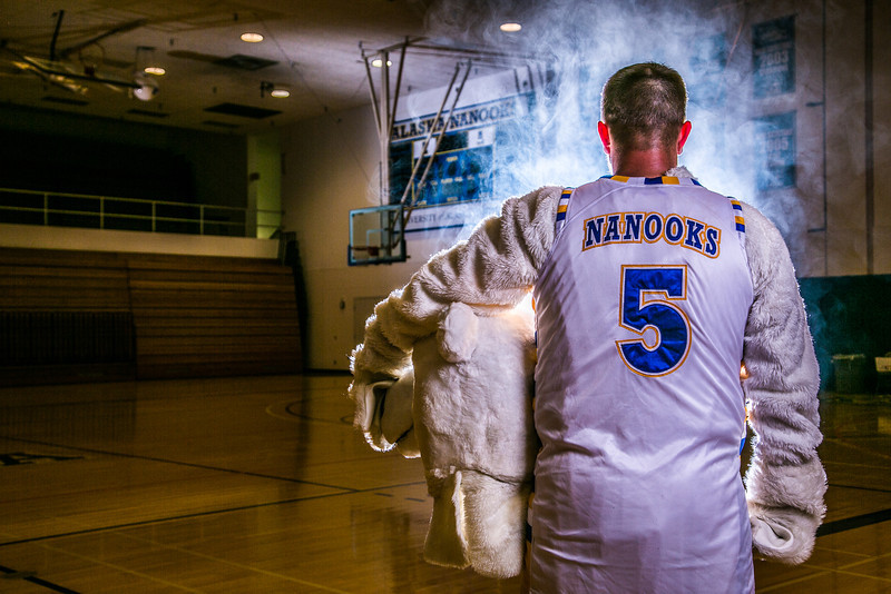 """The Nanook mascot tries to keep his cool while hanging out in the Patty Gym.  <div class=""""ss-paypal-button"""">Filename: ATH-13-3850-48.jpg</div><div class=""""ss-paypal-button-end"""" style=""""""""></div>"""