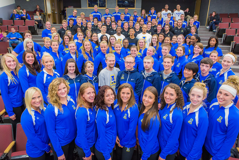 "The 2013-2014 UAF Student Athletes gather for a group photo at Schaible Auditorium.  <div class=""ss-paypal-button"">Filename: ATH-13-3939-7.jpg</div><div class=""ss-paypal-button-end"" style=""""></div>"