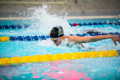 Senior Victoria Adams competes in the second heat of the 100-yard butterfly during the Nanooks' meet against Concordia-Irvine on Friday, Nov. 11, 2016 in the Patty Pool.  Filename: ATH-16-5059-12.jpg
