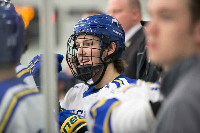 """Freshman Shawn Hochhausen follows the action from the bench during the Nanooks' game against the Mercyhurst Lakers in the Patty Ice Arena.  <div class=""""ss-paypal-button"""">Filename: ATH-13-3982-89.jpg</div><div class=""""ss-paypal-button-end"""" style=""""""""></div>"""