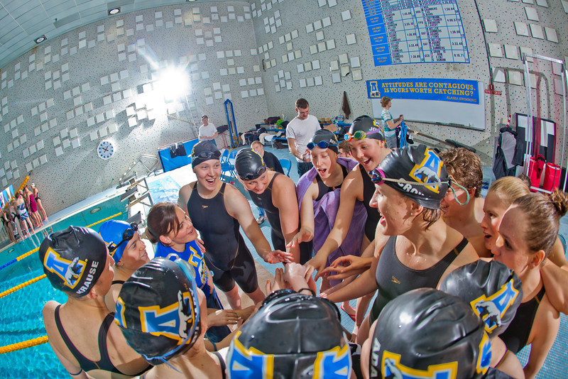 "The Nanooks swim team meets to offer a cheer to their opponents from Colorado Mesa after their dual meet in the Patty pool.  <div class=""ss-paypal-button"">Filename: ATH-12-3267-193.jpg</div><div class=""ss-paypal-button-end"" style=""""></div>"