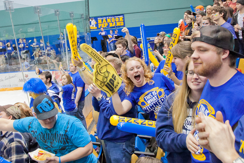 """Fans in the student section of the Carlson Center react to a goal by the Nanooks during their battle against the UAA Seawolves for the coveted Governor's Cup trophy.  <div class=""""ss-paypal-button"""">Filename: ATH-12-3304-130.jpg</div><div class=""""ss-paypal-button-end"""" style=""""""""></div>"""