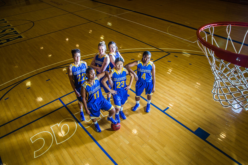 """From left to right, Jacqueline Lovato, #22, Teanna Boxley, #11, Taylor Altenburg, #1, Kelly Logue, Marissa Atoruk, #23 and Benissa Bulaya of the Lady Nanooks.  <div class=""""ss-paypal-button"""">Filename: ATH-12-3625-022.jpg</div><div class=""""ss-paypal-button-end"""" style=""""""""></div>"""