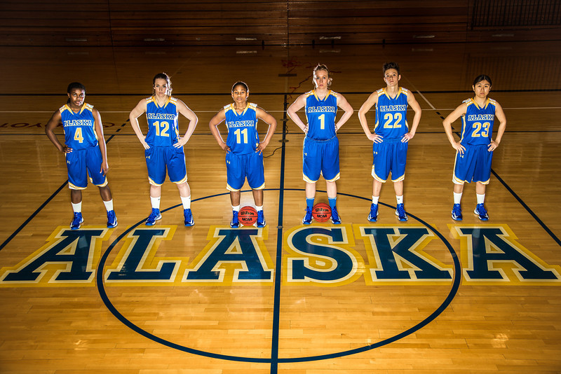 "From left to right, Benissa Bulaya, #4, Kelly Logue, #12, Teanna Boxley, #11, Taylor Altenburg, #1, Jacqueline Lovato, #22, and Marissa Atoruk, #23 of the Lady Nanooks.  <div class=""ss-paypal-button"">Filename: ATH-12-3625-196.jpg</div><div class=""ss-paypal-button-end"" style=""""></div>"