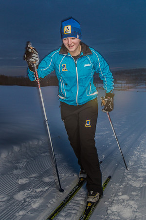 Freshman skier Hannah Stevens gets in some practice time on the UAF ski trails.  Filename: ATH-13-4013-5.jpg
