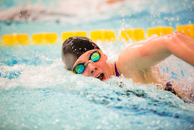 Sophomore Rachel Crosley competes in the 200-yard freestyle during the Nanooks' meet against Concordia-Irvine on Friday, Nov. 11, 2016 in the Patty Pool.  Filename: ATH-16-5059-14.jpg