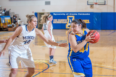 Junior Ruth O'Neal looks to make a move during second half action in the Nanooks' game against the Colorado School of Mines in the Patty Center.  Filename: ATH-12-3639-75.jpg