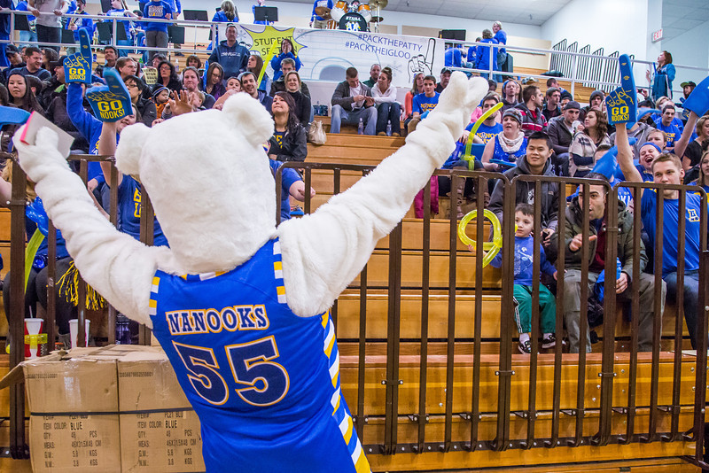 """The Nanook mascot gets the crowd energized before the Nanooks hosted the rival UAA Seawolves in the Patty Center.  <div class=""""ss-paypal-button"""">Filename: ATH-13-3700-16.jpg</div><div class=""""ss-paypal-button-end"""" style=""""""""></div>"""