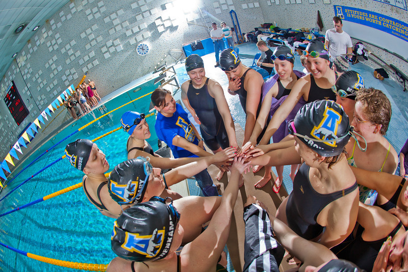 "The Nanooks swim team meets to offer a cheer to their opponents from Colorado Mesa after their dual meet in the Patty pool.  <div class=""ss-paypal-button"">Filename: ATH-12-3267-190.jpg</div><div class=""ss-paypal-button-end"" style=""""></div>"
