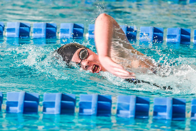Freshman Kathryn Pound strokes her way toward the finish line to win the 500-yard freestyle event during the Nanooks' meet against Loyola Marymount in the Patty Pool.  Filename: ATH-13-3991-205.jpg