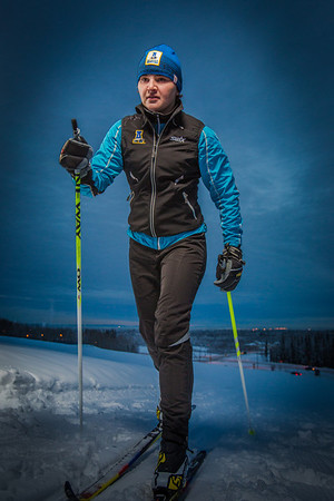 Freshman skier Maddy Pfeifer gets in some practice time on the UAF ski trails.  Filename: ATH-13-4013-20.jpg