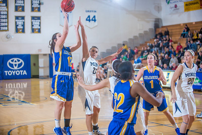 Sophomore Kelly Logue puts up a shot during second half action in the Nanooks' game against the Colorado School of Mines in the Patty Center.  Filename: ATH-12-3639-106.jpg