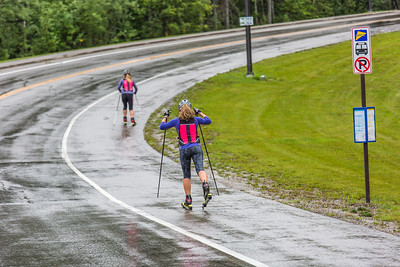 Members of UAF's cross-country ski team get in a late-summer workout along the campus bike trails.  Filename: ATH-15-4607-16.jpg